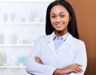 pharmacist keeping arms crossed and smiling